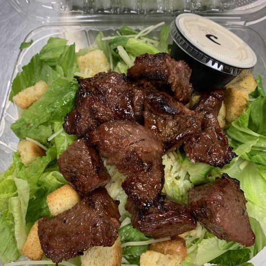 Squinnys - Caesar Salad with Bourbon Marinated Steak Tips